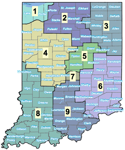 Indiana Districts Map